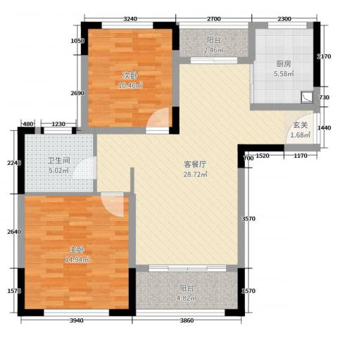 上置香岛御墅2室2厅1卫1厨89.00㎡户型图
