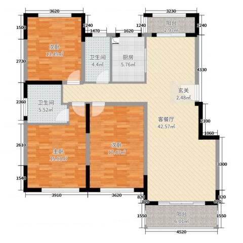 上置香岛御墅3室2厅2卫1厨143.00㎡户型图