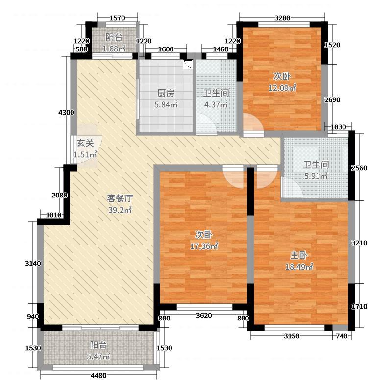 上置香岛御墅138.00㎡D2户型3室3厅2卫1厨