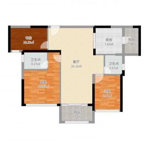 君华新城2室1厅2卫1厨114.00㎡户型图