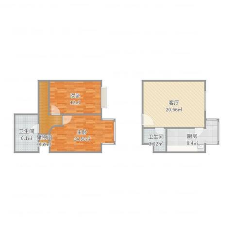 原上园2室1厅2卫1厨88.00㎡户型图
