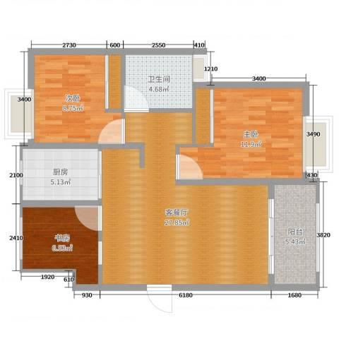 金色华庭3室2厅1卫1厨91.00㎡户型图
