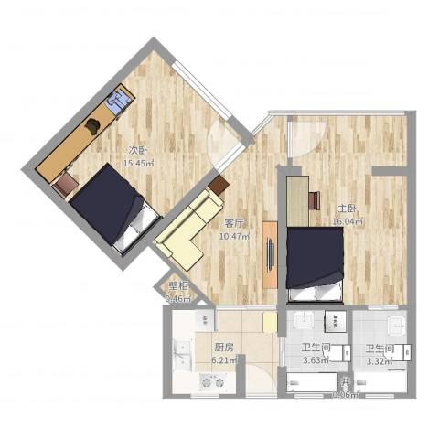 通华大楼2室1厅2卫1厨70.00㎡户型图