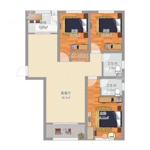 艾博龙园3室2厅2卫1厨129.00㎡户型图