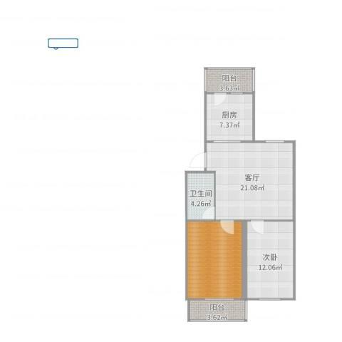 中门寺67号院1室1厅1卫1厨83.00㎡户型图