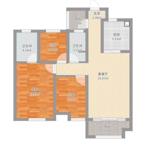 金域华府3室2厅2卫1厨88.00㎡户型图