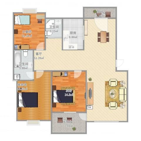 九溪江南2室1厅2卫1厨158.00㎡户型图