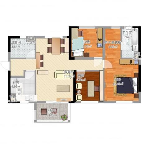 万科城市花园3室2厅2卫1厨106.00㎡户型图