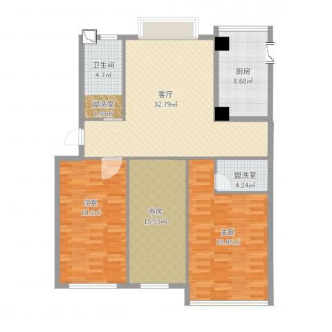 海源丽都3室3厅1卫1厨144.00㎡户型图