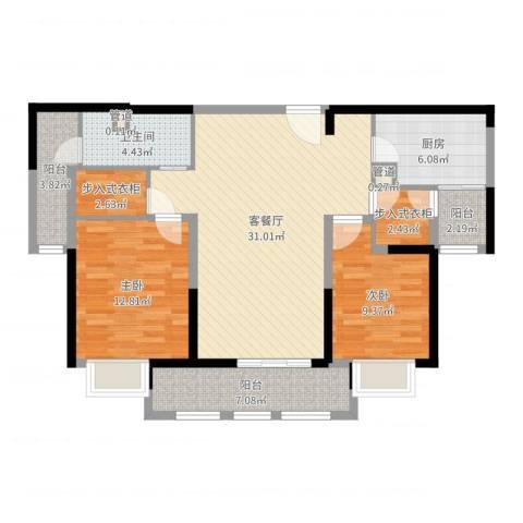 安亭瑞仕华庭2室2厅1卫1厨103.00㎡户型图