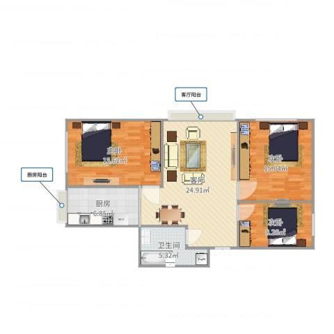 南方花园6-1栋9单元2门户型3室1厅1卫1厨95.00㎡户型图