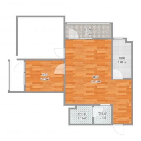 新华街五里1室1厅2卫1厨51.00㎡户型图
