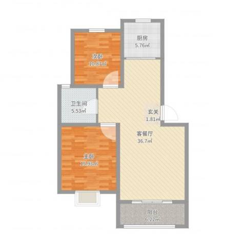和美居2室2厅1卫1厨114.00㎡户型图