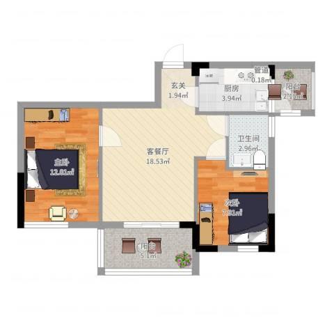 南方香榭里2室2厅1卫1厨66.00㎡户型图
