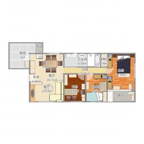 中山广场3室1厅1卫1厨97.00㎡户型图