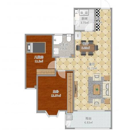 姚江上上城2室1厅1卫1厨87.00㎡户型图