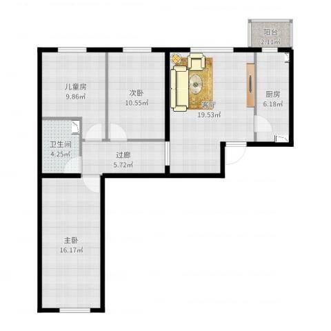 临泓路6号院3室1厅1卫1厨93.00㎡户型图