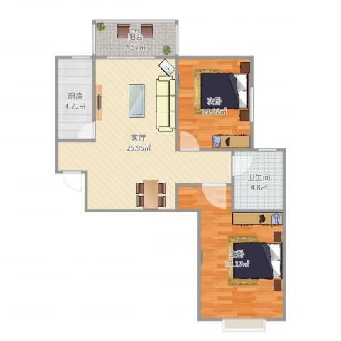 昆明时光2室1厅1卫1厨85.00㎡户型图
