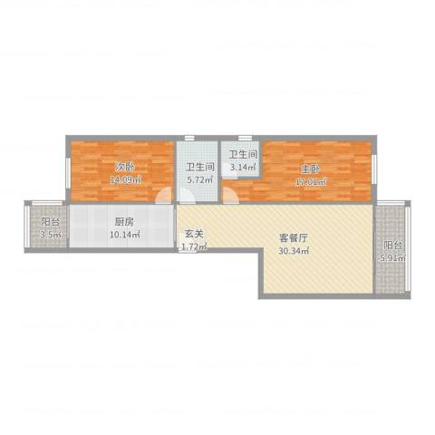 天通苑西三区2室2厅2卫1厨112.00㎡户型图