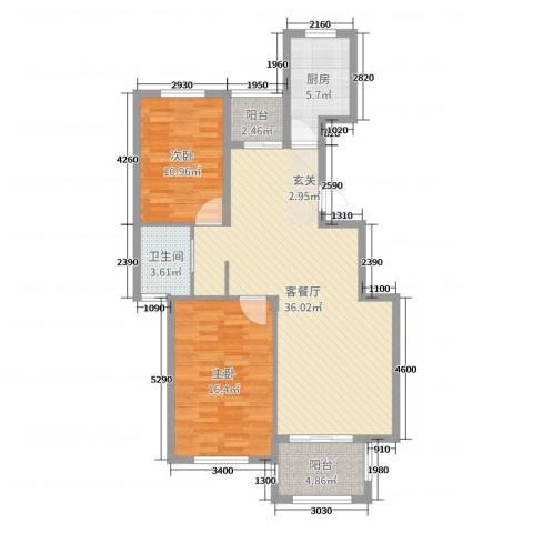 丰县翡翠城2室2厅1卫1厨99.00㎡户型图