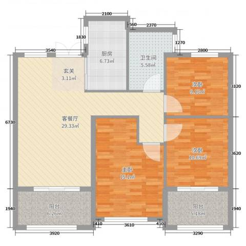 丰县翡翠城3室2厅1卫1厨110.00㎡户型图