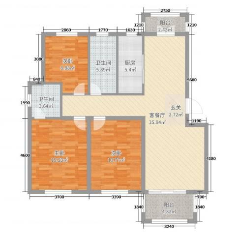 丰县翡翠城3室2厅2卫1厨120.00㎡户型图