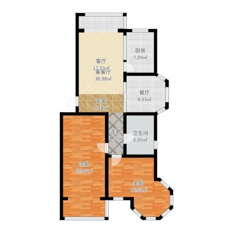 金城花园二期2室2厅1卫1厨121.00㎡户型图