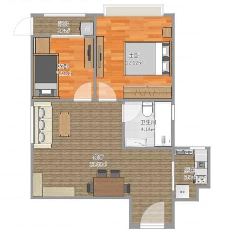 东风家园2室1厅1卫1厨65.00㎡户型图