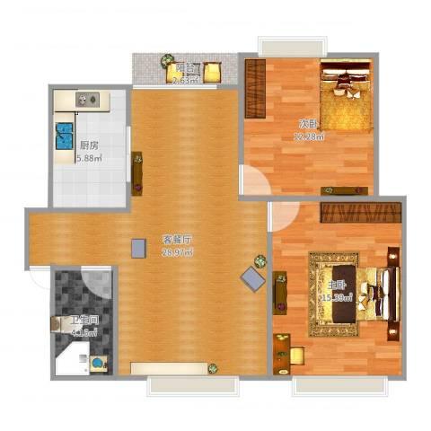 怡丰新城2室2厅1卫1厨83.00㎡户型图