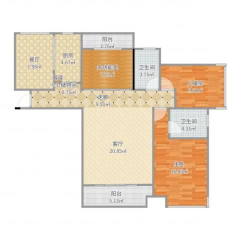 海伦春天2室1厅2卫1厨115.00㎡户型图