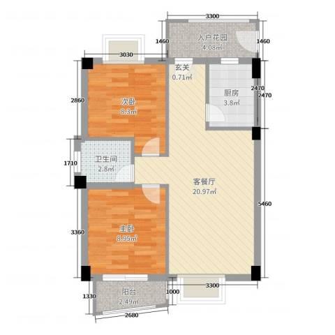 静海湾2室2厅1卫1厨64.00㎡户型图