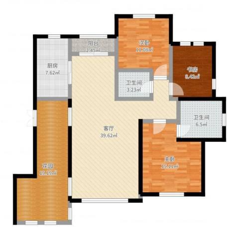 绿地大溪地3室1厅2卫1厨142.00㎡户型图