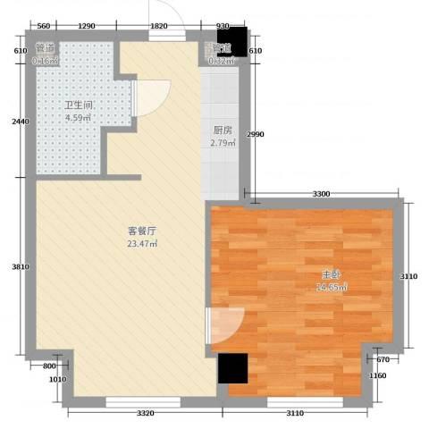 恒元悦庭1室2厅1卫0厨54.00㎡户型图