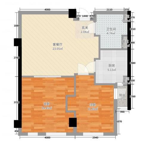 恒元悦庭2室2厅1卫1厨75.00㎡户型图