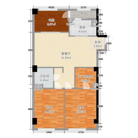 恒元悦庭3室2厅1卫1厨110.00㎡户型图