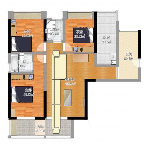 绵阳西雅图3室2厅2卫1厨122.00㎡户型图
