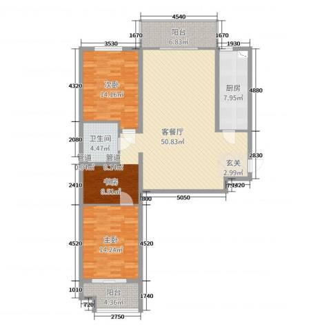 钟秀花园2室2厅1卫1厨127.00㎡户型图