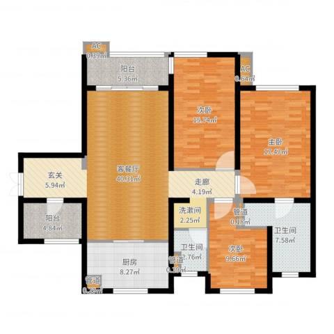 万科・金域东郡3室2厅2卫1厨142.00㎡户型图
