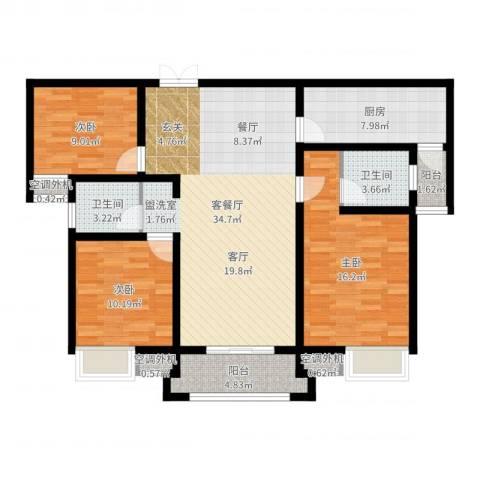 鼎盛国际3室2厅2卫1厨116.00㎡户型图