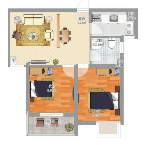 丰朔名仕豪庭2室1厅1卫1厨69.00㎡户型图