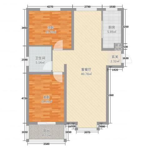 吉祥尚府2室2厅1卫1厨107.00㎡户型图