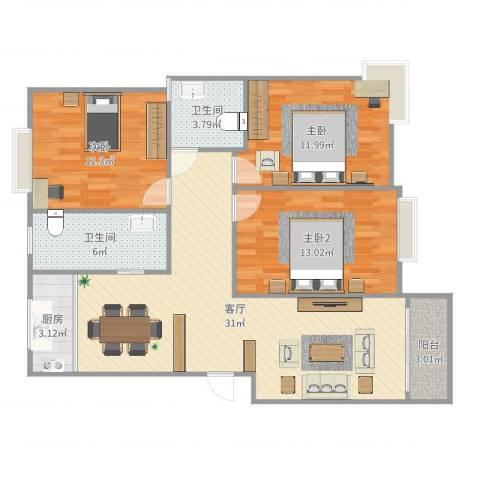 运河人家2室1厅2卫1厨105.00㎡户型图