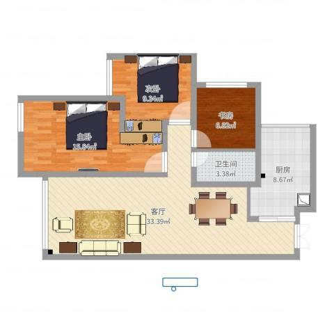 浩博天地3室1厅1卫1厨97.00㎡户型图
