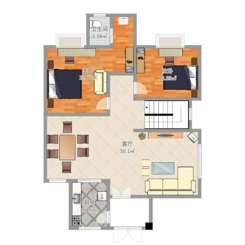 寮步河滨花园2室1厅1卫1厨114.00㎡户型图