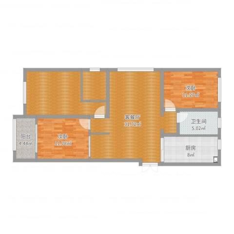 瑞景花园9-11042室2厅1卫1厨114.00㎡户型图