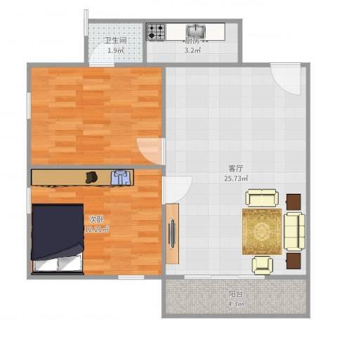 棠下远洋宿舍1室1厅1卫1厨73.00㎡户型图