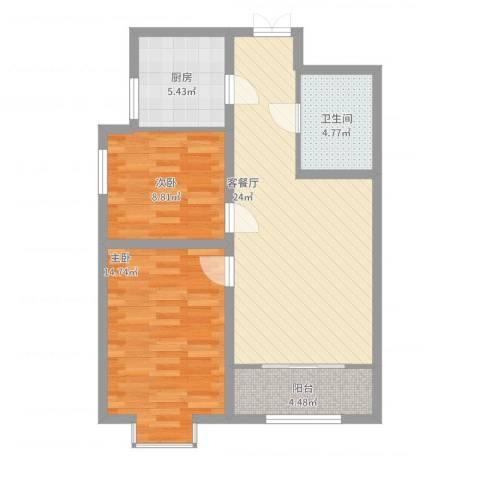 百合世纪城2室2厅1卫1厨89.00㎡户型图