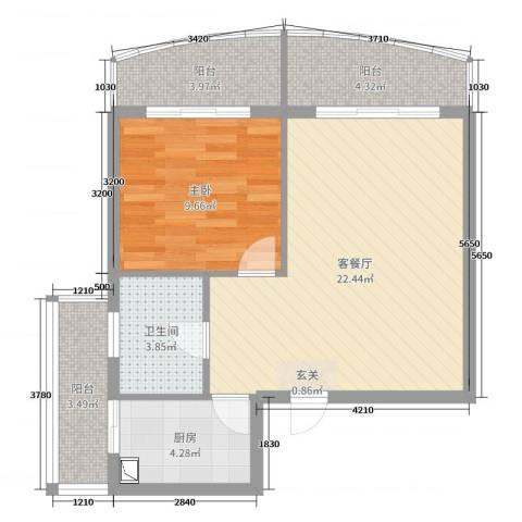 龙栖湾温泉1号1室2厅1卫1厨65.00㎡户型图