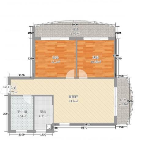 龙栖湾温泉1号2室2厅1卫1厨85.00㎡户型图