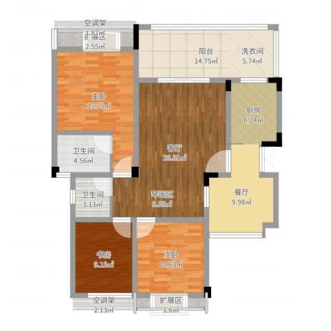 海宇学府江山3室2厅2卫1厨131.00㎡户型图